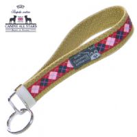 WRISTLET KEYCHAIN - PINK AND NAVY ARGYLES ON RED